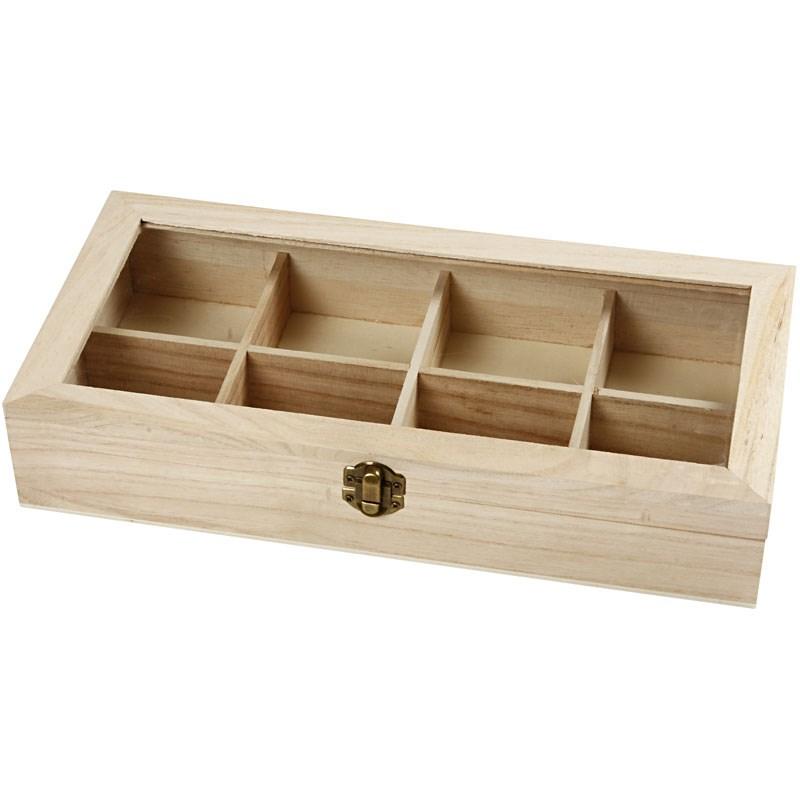 Cutie cu 8 compartimente,lemn,32x16x6cm
