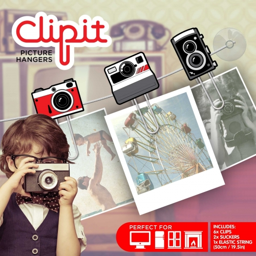 Set Clipit,6 agrafe+elastic,aparat foto