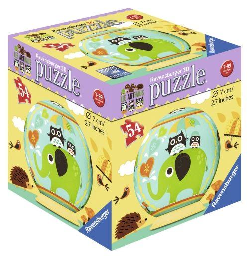 Puzzle 3D bufnita si elefant, 54 pcs