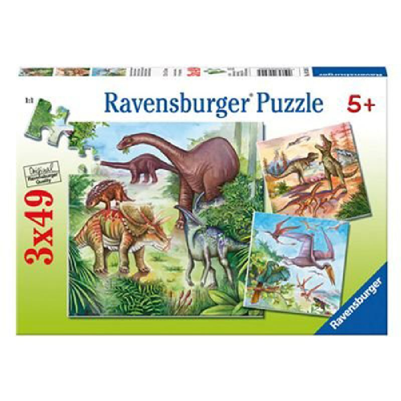 Puzzle dinozauri, 3x49 pcs
