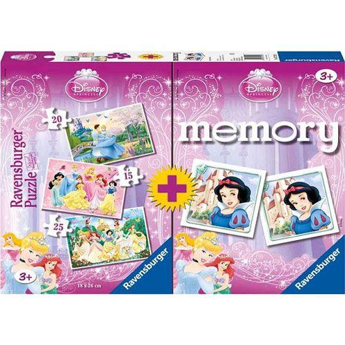 Puzzle memory printesele disney, cutie 15/20/25 pcs