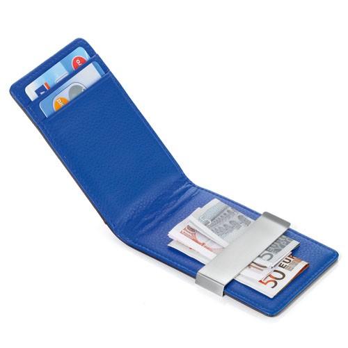 Suport carti credit,piele, maro/albastru