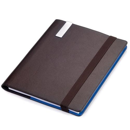 Agenda A4,piele maro/albastru + pix Slim