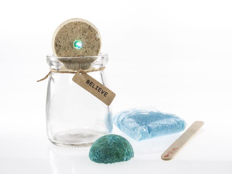 Borcan cu cristal dorinta (albastru)