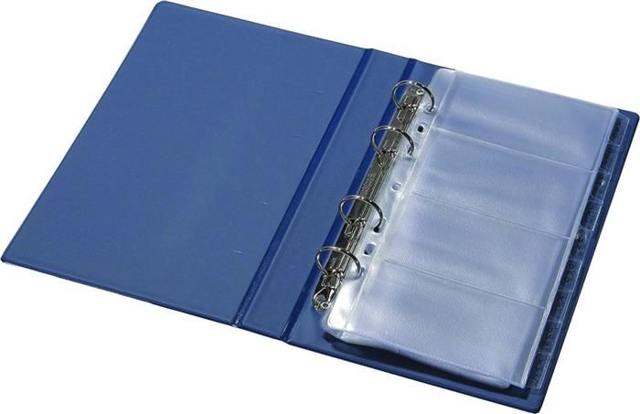 Clasor 16x26cm,200carti v,piele eco,albastru