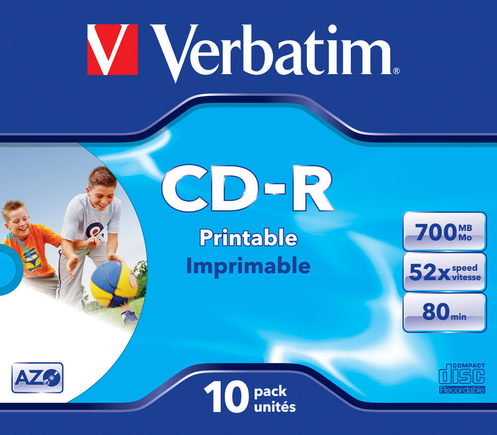 VERBATIM CD-R AZO 700MB 52X WIDE PRINTABLE SURFACE