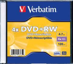 VERBATIM DVD+RW 4X 4.7GB SINGLE WRAP MATT SILVER