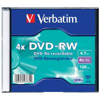 VERBATIM DVD-RW 4X 4.7GB SINGLE WRAP MATT SILVER