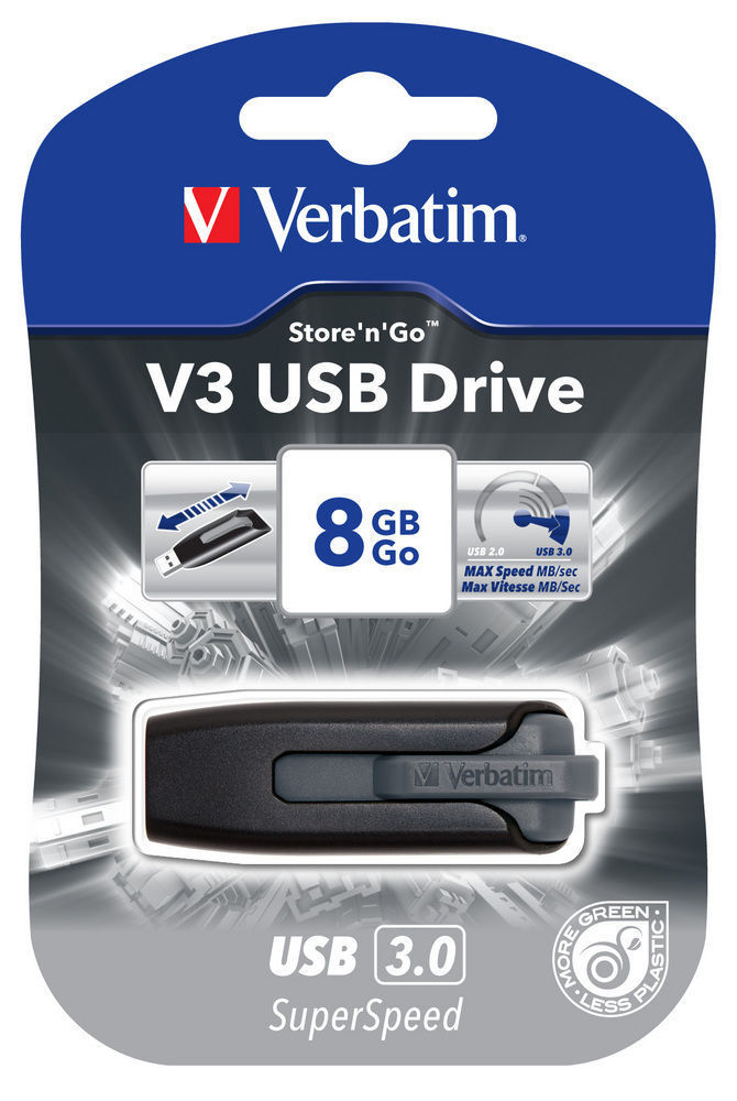 VERBATIM USB DRIVE 3.0 8GB STORE N GO V3 BLACK