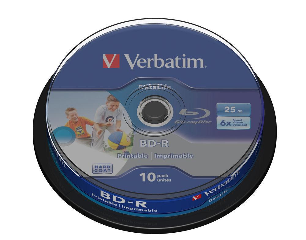 VERBATIM BD-R SL 25GB 6x Inkjet Print NO ID 10 Pack Spindle