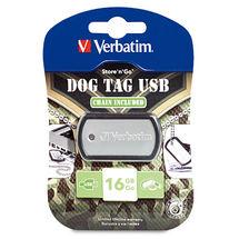 VERBATIM USB DRIVE 2.0 DOG TAG 16GB BLACK