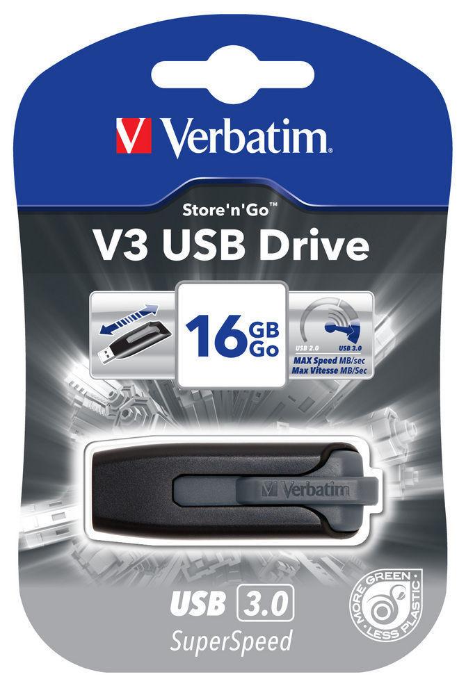 VERBATIM USB DRIVE 3.0 16GB STORE N GO V3 BLACK