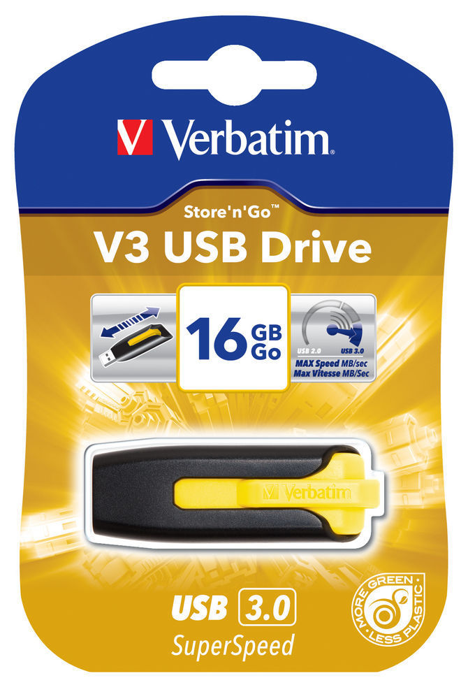 VERBATIM USB DRIVE 3.0 16GB STORE N GO V3 SUNKISSED YELLOW