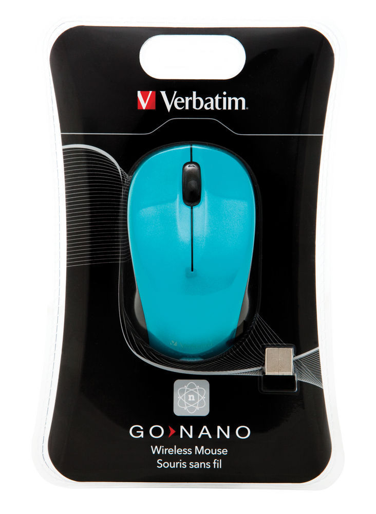 VERBATIM GO NANO WIRELESS MOUSE CARIBBEAN BLUE