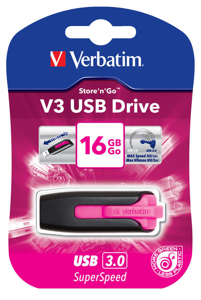 VERBATIM USB DRIVE 3.0 16GB STORE N GO V3 HOT PINK