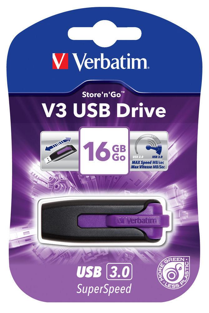 VERBATIM USB DRIVE 3.0 16GB STORE N GO V3 VIOLET