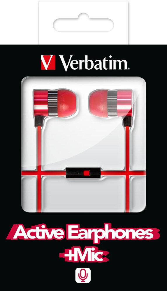 VERBATIM Active Earphones Red incl. Microphone