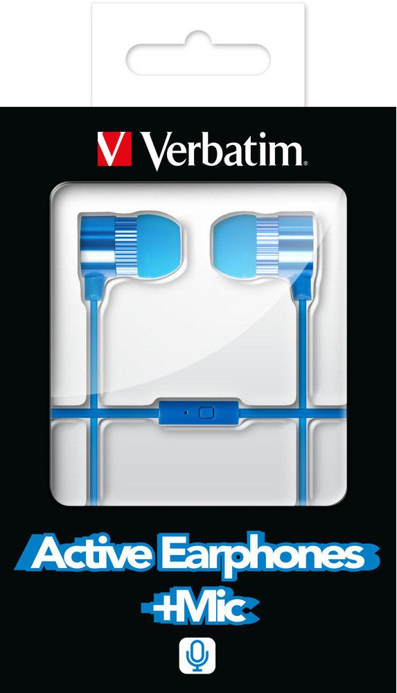VERBATIM Active Earphones Blue incl. Microphone