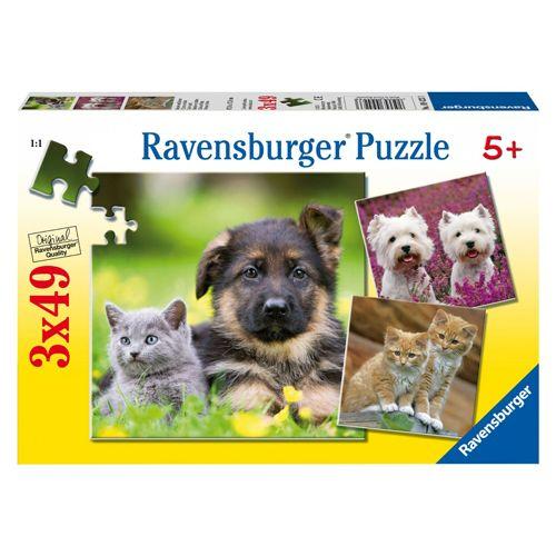 Puzzle caini si pisici, 3x49 piese