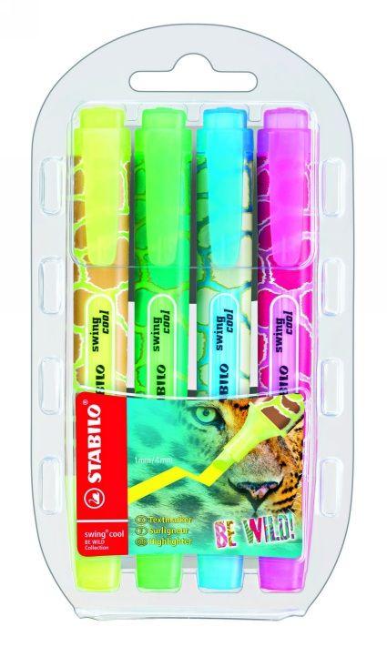 Textmarker Stabilo Swing Cool Wild,4 b/s