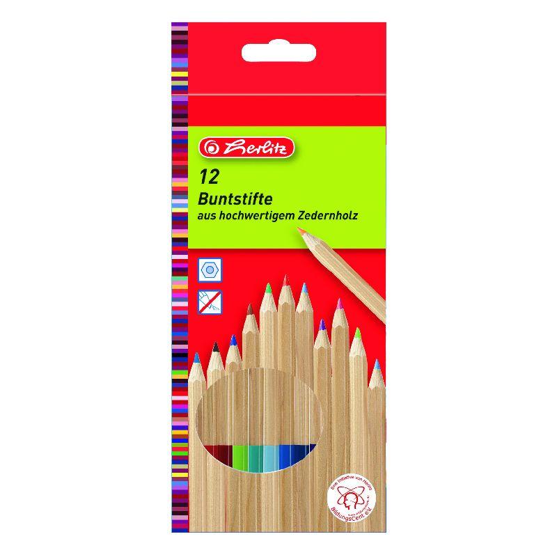 Creioane colorate,12b/set,lemn cedru,Herlitz