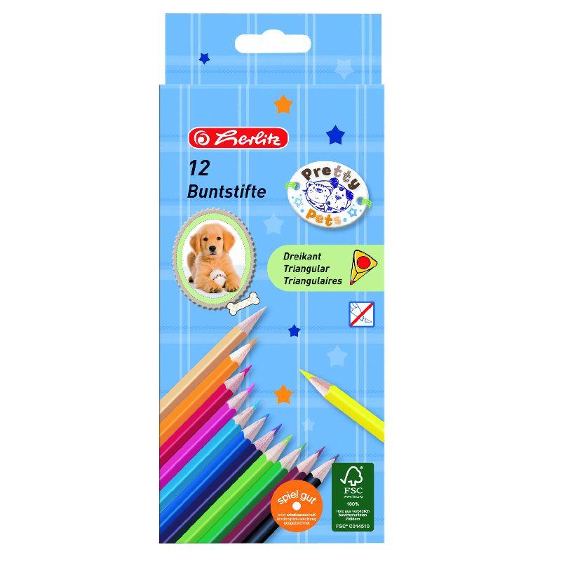 Creioane colorate,12b/set,Pretty Pets