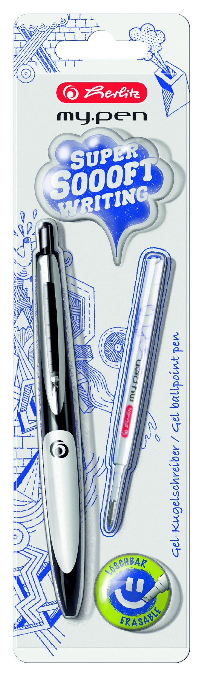 Pix cu gel My.Pen,corp negru/alb