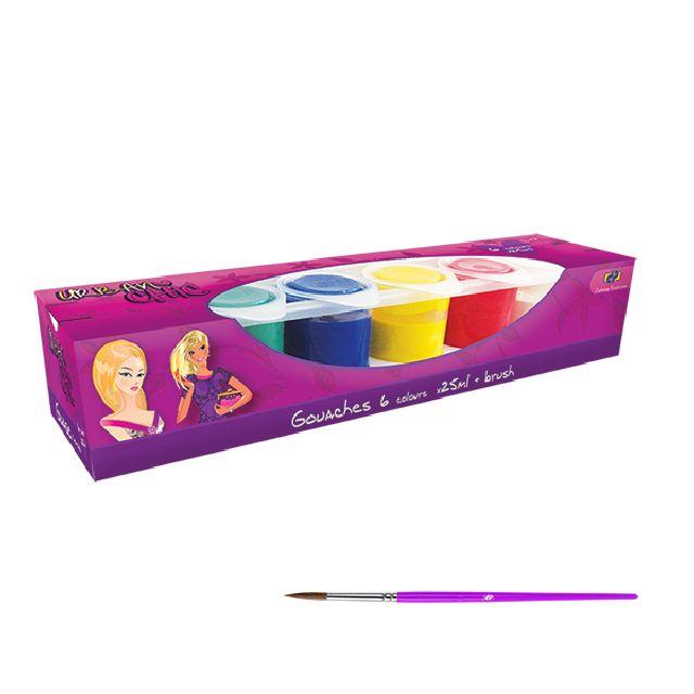 Guase 6 culori,pensula,DP Urban Chic