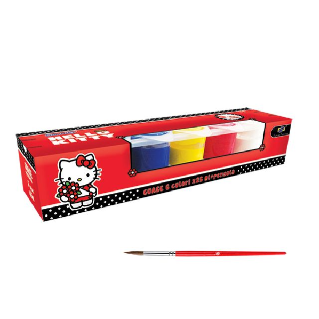 Guase 6 culori,pensula,Hello Kitty
