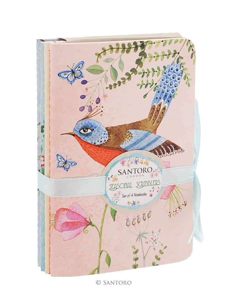 Carnetele,4buc/set,Watercolour Birds