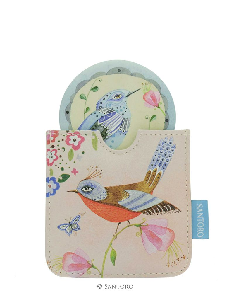 Oglinda de buzunar,etui,Watercolour Birds