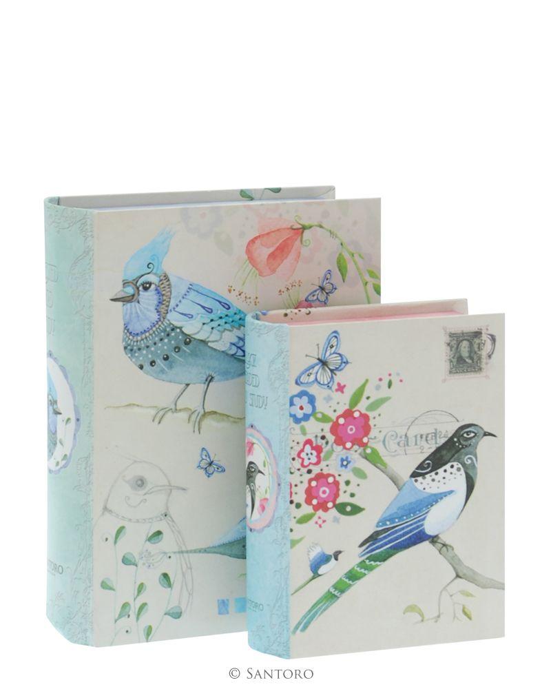 Cutii forma carte,2buc,Watercolour Birds