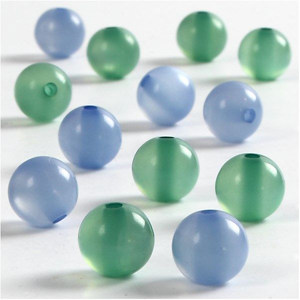 Margele rasina,10mm,rotunde,verde/bleu,25b