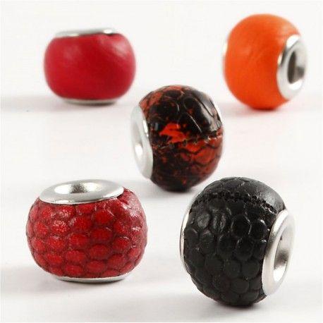 Margele piele,11mm,rotunde,rosu,5b