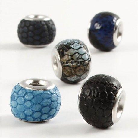 Margele piele,11mm,rotunde,albastru,5b
