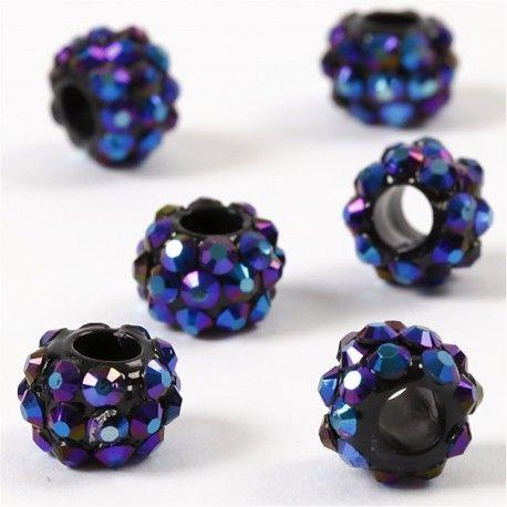 Margele platic,9x13mm,cu pietre,albastru,6b