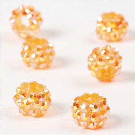 Margele platic,9x13mm,cu pietre,orange,6b
