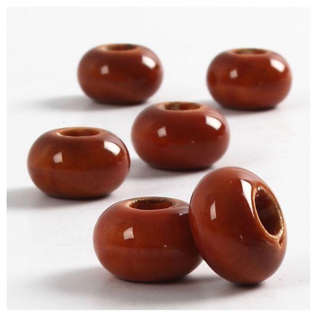 Margele ceramica,15mm,rotunde,maro,6b