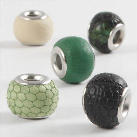 Margele piele,11mm,rotunde,verde,5b