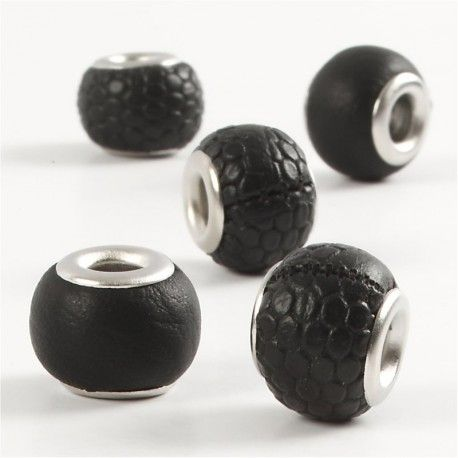 Margele piele,11mm,rotunde,negru,5b
