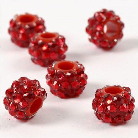 Margele platic,9x13mm,cu pietre,rosu,6b
