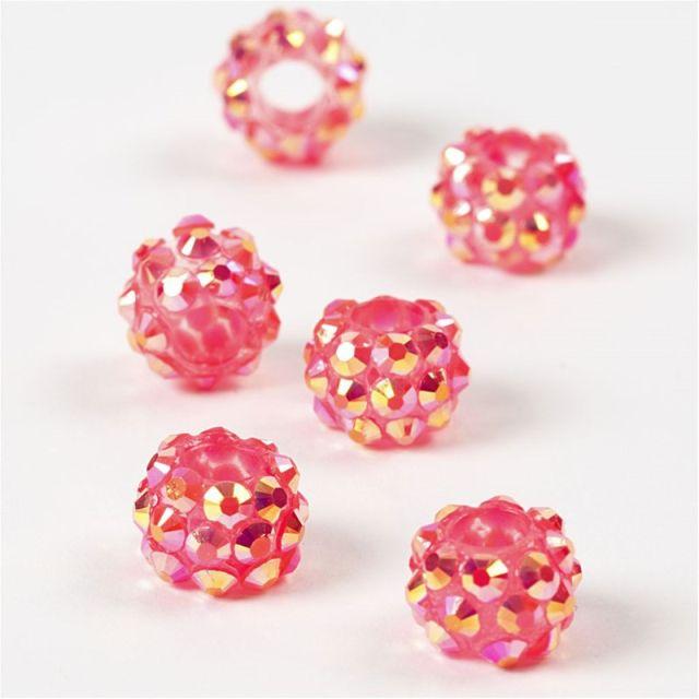 Margele platic,9x13mm,cu pietre,roz,6b