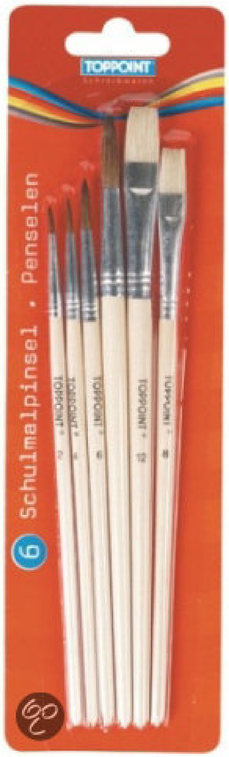 Pensule,4rotunde,2drepte,Toppoint,6b/set