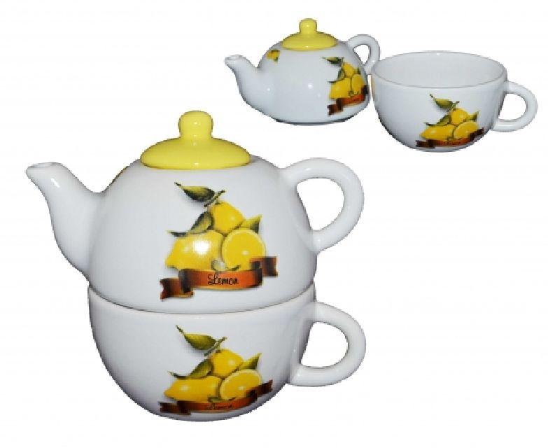 Set ceai rosu cu buline albe,15 x 15 cm