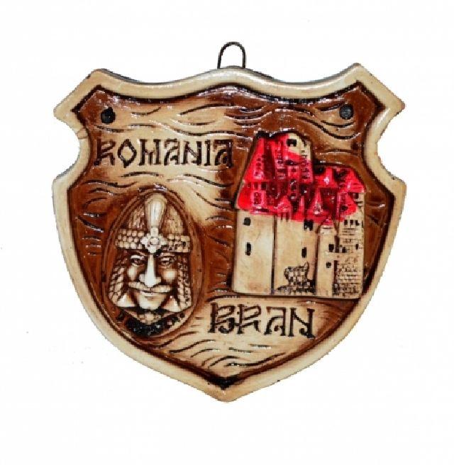 Plachet din gips Romania Bran 9cm