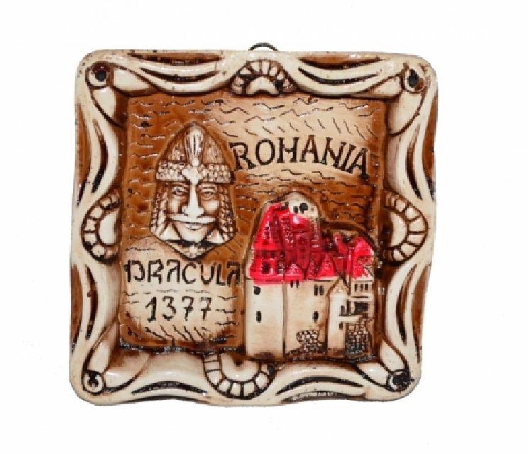 Plachet din gips Romania Dracula 9cm