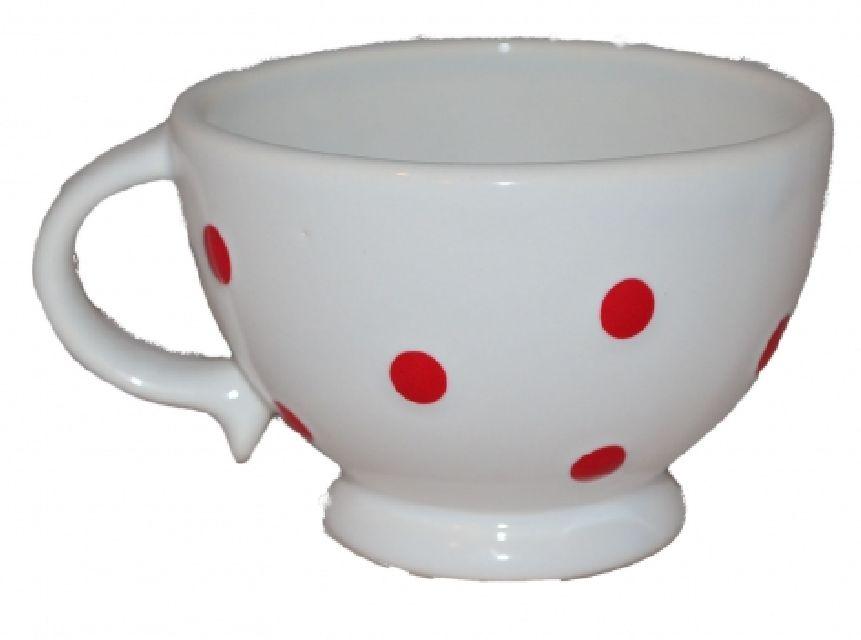 Cana pentru ceai alba cu buline rosi,9 x 10 cm