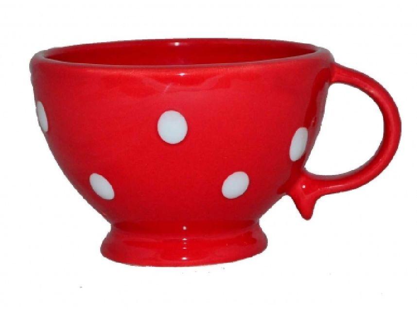 Cana pentru ceai rosie cu buline albe,9 x10 cm