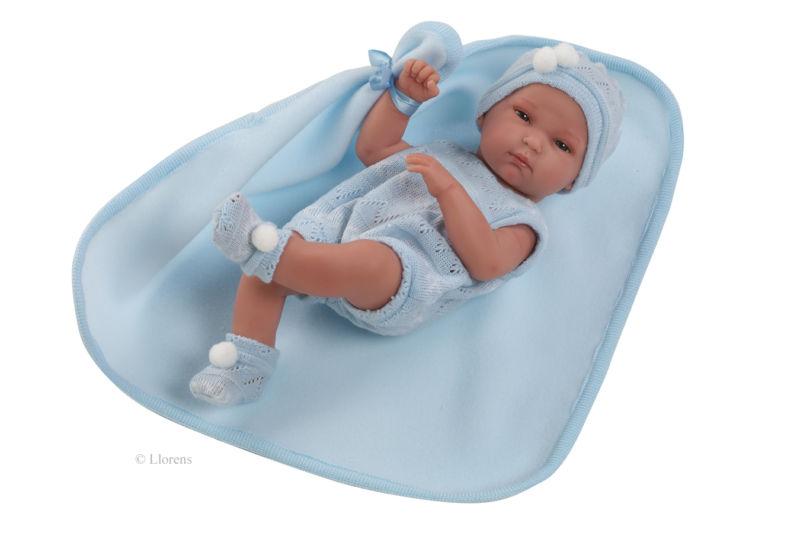 Papusa bebe Llorens,cu paturica,bleu,33 cm