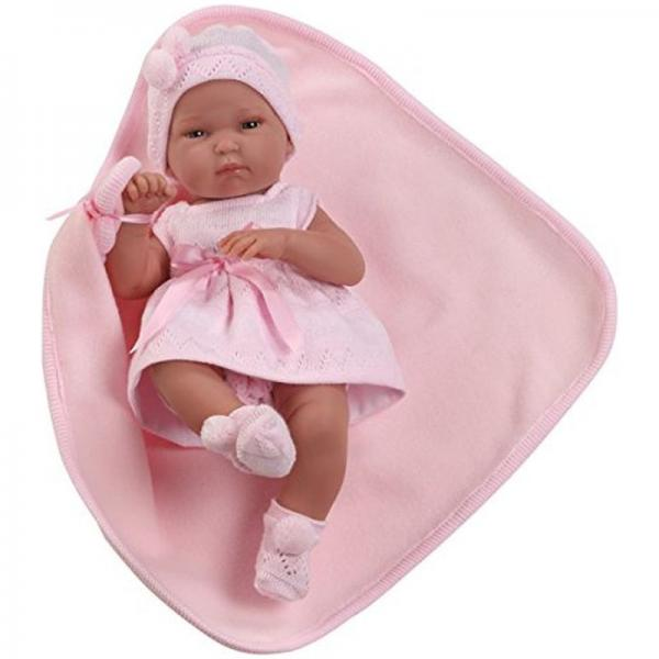 Papusa bebe Llorens,cu pautrica,roz,33 cm